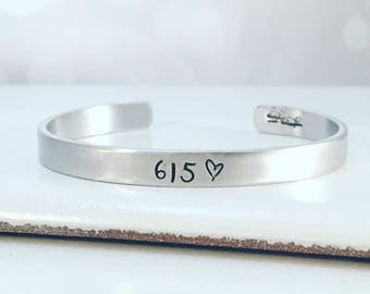 Area Code Personalized Bracelet - Hand Stamped Jewelry - Hand Stamped Cuff Bracelet - Personalized Cuff Bracelet  Metal Bracelet Birthday