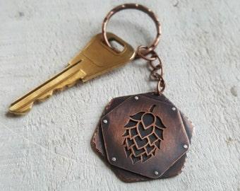 Copper Hop Keychain -  Craft Beer Nerd Gift