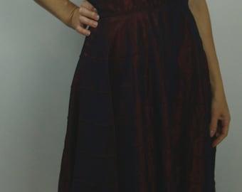 vintage IRIDESCENT WINE TAFFETA strapless party dress 1950's 50's S M