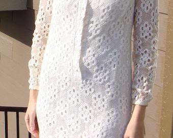 CREAM DAISY LACE marie phillips mod mini shift dress 1960's 60's xs