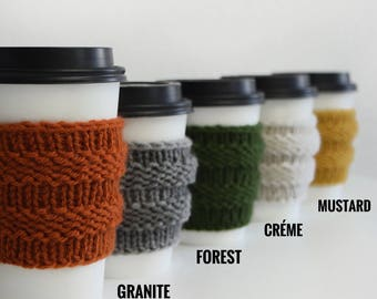 Knitted Coffee Cozy Knit Cup Sleeve / Stylish Tea Cup Holder Starbucks Cup Sleeve / Fall Winter Accessory Cozy