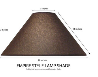 Empire-Coolie style lamp shade. Translucent linen fabric. BLACK.