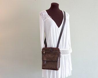 Vintage Dark Brown Relic  Tooled Faux Leather Vegan  PVC Purse Cross Body Satchel Brass Buckle Shoulder Zip Around Bag