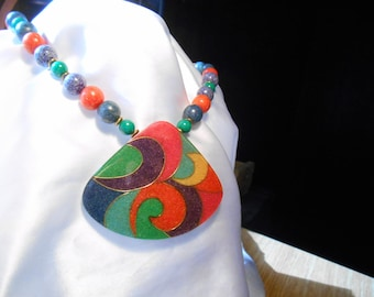 Primary Colors Beaded Necklace with Pendant