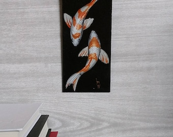 Painted Fish - Two Fish - Koi Fish Painting - Wall Art - White and Orange- Black Background - Swimming Fish - Realistic Painting - Zen Art