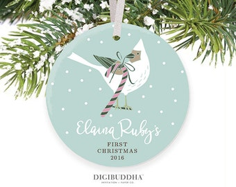Baby's First Christmas Ornament Winter Bird Christmas Baby Girl Ornament Girl Baby Christmas Baby's 1st Christmas Ornament Newborn Baby Gift