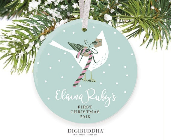 Babys First Christmas Ornament Winter Bird Christmas Baby Girl