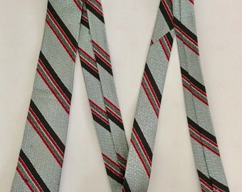 Vintage 1950s 60s Silver Red Black Silk Skinny Necktie Tie Di Marco