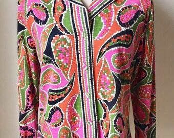 Vintage Hooper 1960s 70s Misses' Wool Knit Wool Paisley Blouse Shirt 8 10 12