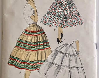 "Vintage 1950s Advance Misses' Petticoat Skirt Pattern 7638 Size 28"" Waist"
