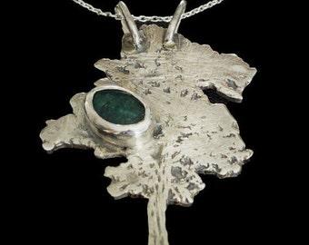 Tree Necklace / Pendant, Sterling Silver, Green Gemstone, Designer Tree, Woodland, Nature