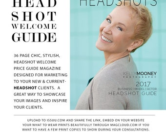 Photography Template, Headshot Welcome Guide, Marketing Template, Photoshop, Pricing Guide, Branding, HG100, INSTANT DOWNLOAD