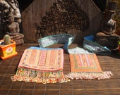 RESERVED FOR AKOSUA      Embroidered Textile, Cross Stitch Tribal Emboidery, Homong Vintage Textile, Set of 2 Beaded