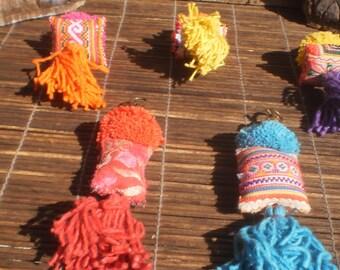 Set Of 5 Hmong Vintage Textile Key Chains, Bag Decorations, Tribal Decorations, Hmong Clips, Hmong Textile