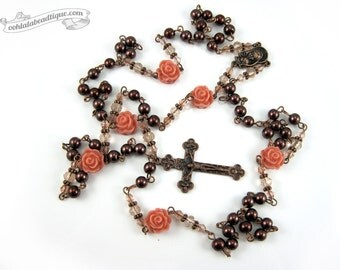 Brown Rose Rosary brown rosary confirmation gift communion rosary catholic gift pearl rosary baptism rosary necklace rosaries gift for her