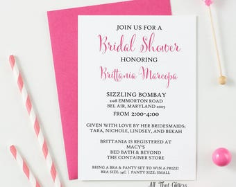 Hot Pink and Navy Bridal Shower Invitations, Pink and Blue Bridal Shower Invitations, Navy and Blush Bridal Shower Invites, Brittania