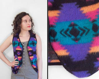 Northern Exposure Tribal FLEECE Vest 1980s Randy Coordinates Small Purple Orange Teal