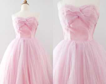 RESERVED FOR SOPHIA - Payment 2 - Vintage 1950s Lilac Blush Tulle Prom Dress // 50s Pink Purple Wedding Dress
