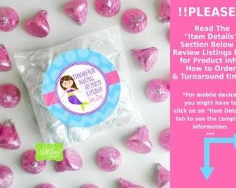 Mermaid Favor Stickers - Mermaid Thank You Stickers - Mermaid Gift Stickers - Birthday Stickers - Digital & Printed