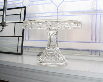 Elegant Glass Cake Stand Vintage Pedestal Plate with Rum Well