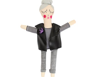 Rock Chick, RosieDoll, Rag doll, Handmade Doll