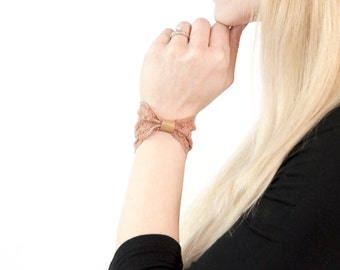 Lace Wrist Cuff Bow Bracelet, Wide Bowtie, Nude Tan Vegan Leather, Wristband Stretch Bracelet Wrist Tattoo Cover Up Covers, Scar Cover