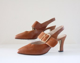 Vintage Whiskey Brown Buckle Heels 6.5