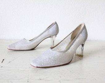 Vintage 80's does 50's Silver Glitter Heels Sz 6.5