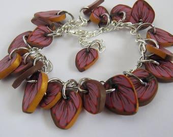Bracelet, Autumn leaf bracelet, Artisan Bracelet, Leaf bracelet, Leaf jewelry, Turquoise leaf, beaded bracelet, Gift for her, autumn leaf
