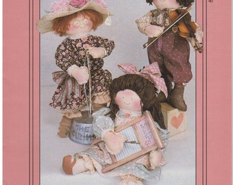 """1992 - My Sister & I Vintage Sewing Pattern The Cuzins A. Raymond, Violet Specs 15"""" Ragg Bagg Dolls Boy Girl Stuffed Decoration Gift"""