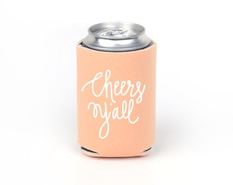 Cheers Y'all Can Cooler - Party Foam Peach Foam Can Cooler with White Imprint