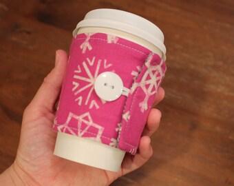 Fabric Coffee Cozy, Snowflake Cozie, Iced Coffee, Fabric Coffee Sleeve, travel cup cozy, gift, Winter, Cotton and Steel fabric, MUG