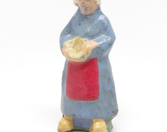 Antique German Farm Maiden, Hand Painted Paper Mache Farm Girl for Christmas Putz