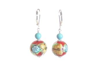 Murano Glass Butterfly Earrings, Lampwork Glass Chunky Earring, Italian Jewelry, Millefiori Earrings, Sterling Silver Leverback, Clip ons