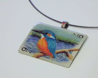 Kingfisher miniature painting necklace: original art on a tiny playing card pendant