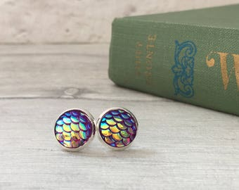 Lilac mermaid earrings, purple mermaid scale earrings, mermaiden, merman earring, dragon egg, gifts for her, for women, for teens uk