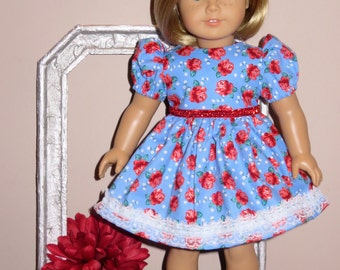 "Handmade Doll Clothes fits/for 18 inch American Girl Doll ~ ""Beauty"" Light Blue, Red & Green Flower Print Dress"
