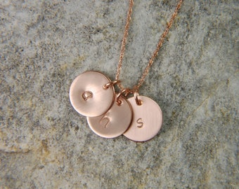 Rose Gold Disc Necklace 9 mm Mommy Necklace Personalized Gold Necklace Rose Gold Push Present 14K Gold Necklace