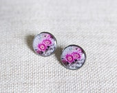 Pink flower earrings. Cactus  stud earrings. Botanic post earrings. Resin jewelry /photo jewelry /wearable art. Gift for her.