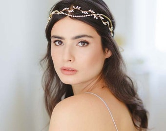 Thea Grecian Sparkle Bridal Halo, Grecian Wedding Wreath, Rhinestone Wedding Halo, Double Strand Bridal Halo