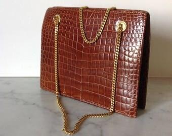 Vintage luxury French  crocodile bag brown gold chain  PARIS