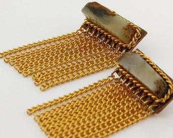 Gold Chain Fringe Earrings, Long Dangle Earrings, Gold Statement Earrings, Gold Chandelier Earrings, Gemstone Drop Earrings