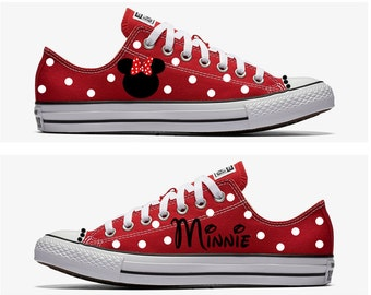 Converse Hand Painted with Minnie Mouse Design