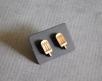 Ice Pop Stud Earrings : Popsicle Wood Laser Earrings