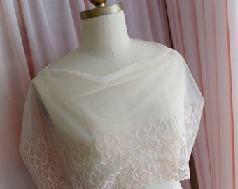Victorian Nude Beige Champagne Tulle Lace Sheer Shoulder  Cape Capelet Poncho Shawl shrug boho top coverup