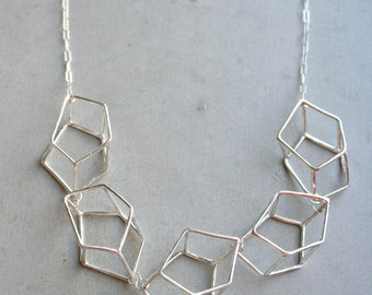 Five Gem Cage Necklace, statement necklace, 3D geometric necklace, modern geometric jewelry