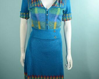 Vintage 70s  Mini Skirt + Top, Mod Cerulean Blue Plaid  Skirt + Top, Italian Knit for Neiman Marcus Missoni Style, 2 Piece Suit S