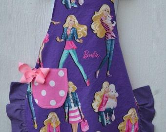 Barbie Apron, Cute Little Girl Apron, Reversible Apron, Ready to Ship