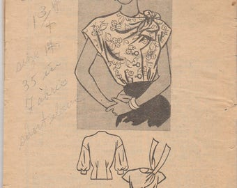 Unusual 40s Blouse Pattern Marian Martin 9093 Size 14 Unused