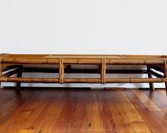 Pagoda Bamboo and Rattan Coffee Table, MId Century Modern Ficks Reed, 1950s Boho